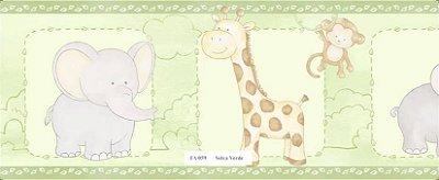 Faixa Animais (Girafa, Macaco, Hipopótamo e Girafa) Verde