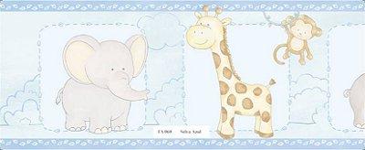Faixa Animais (Girafa, Macaco, Hipopótamo e Elefante) Azul