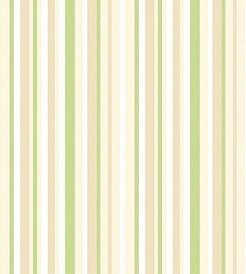 Papel de Parede Listrado Verde, Branco e Bege