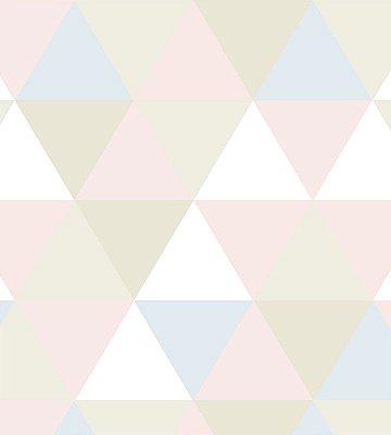 Papel de Parede triangulo Azul, Rosa e Bege