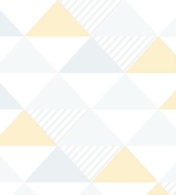 Papel de Parede Triangulo Cinza, Amarelo (alaranjado) e Branco