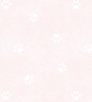 Papel de Parede Pegadas Cachorro Rosa