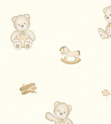Papel de Parede Urso Brincando Bege