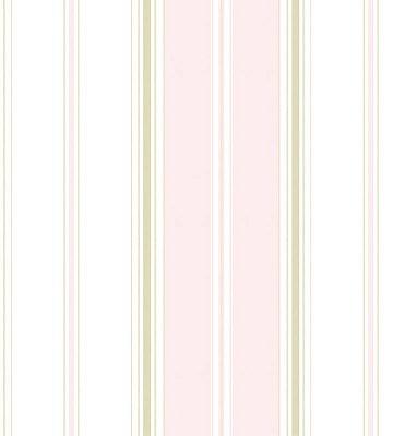 Papel de Parede Listrado Rosa, Branco e Dourado