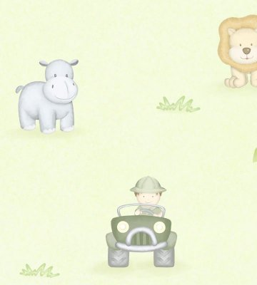 Papel de Parede Animais Aventura na Floresta Fundo Verde
