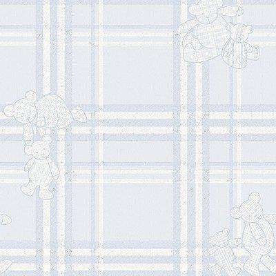 Papel de Parede Infantário Henrique Xadrez Com Ursos Azul Bobinex Infantário 1710