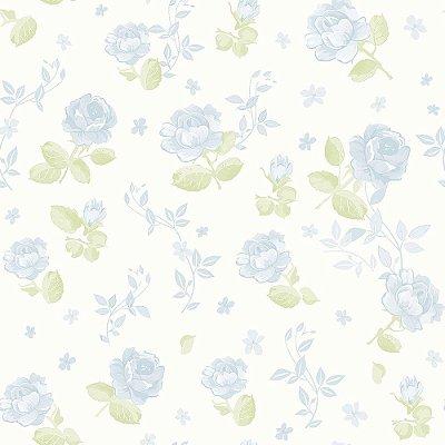 Papel Floral Azul Grande Bobinex Bambinos 3363