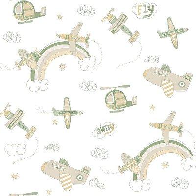 Papel de Parede Aviao Verde Bobinex Bambinos 3312