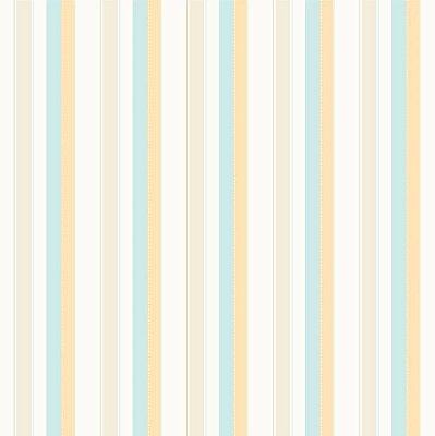 Papel de Parede Listras Azul Claro (verde água), Bege e Amarelo Bobinex Bambinos 3301