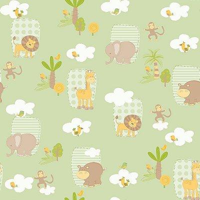 Papel de Parede Safari Verde Bobinex Bambinos 3303
