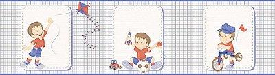 Faixa de Parede Menino Xadrez Azul e Vermelho Bobinex Bambinos 3204