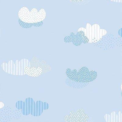 Papel de Parede Infantil Nuvem Vinílico - Rosa e Azul