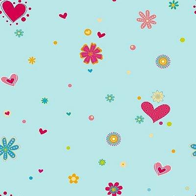 Papel de Parede Infantil Vinilizado de Coração e Flor
