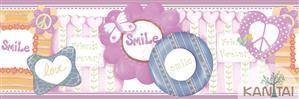 Faixa Infantil Smile Coloridos Vinílico Lavável - Lilás BB221303B