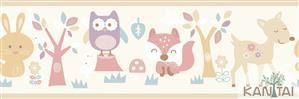 Faixa Infantil Animais Coloridos Vinílico Lavável - Bege BB221001B