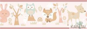 Faixa Infantil Animais Coloridos Vinílico Lavável - Rosa BB221002B