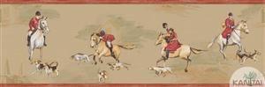 Faixa Infantil Vinílico Lavável Cavalo - Marron e Vermelho BB220104B