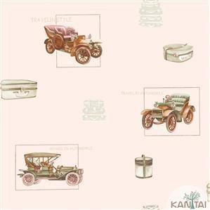 Papel de Parede Infantil Carro Antigo Vinílico Lavável Rosa BB220003