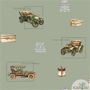 Papel de Parede Infantil Carro Antigo Vinílico Lavável Verde BB220005