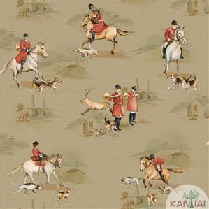 Papel de Parede Infantil Cavalo Vinílico Lavável Marrom BB220104