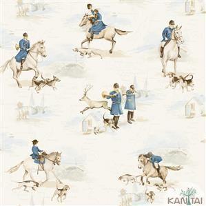 Papel de Parede Infantil Cavalo Vinílico Lavável Azul BB220102
