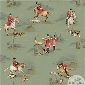 Papel de Parede Infantil Cavalo Vinílico Lavável Verde BB220106