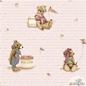 Papel de Parede Infantil Urso Vinílico Lavável - Várias Cores