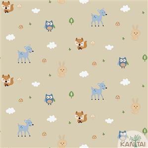 Papel de Parede Infantil Animais Coloridos Vinílico Lavável BB221004