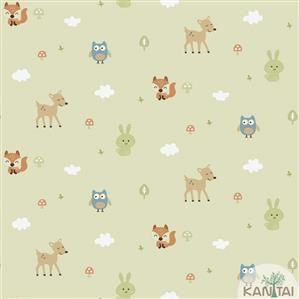 Papel de Parede Infantil Animais Verde Vinílico Lavável BB221003