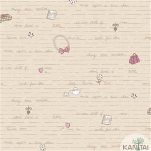Papel de Parede Infantil Laços, Palavras e Letras Vinílico Lavável - Várias Cores