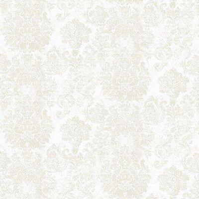 Papel de Parede Arabesco Branco Com Bege Bobinex Diplomata 3107 Vinílico Lavável