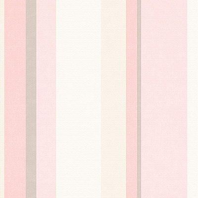 Papel de Parede Listrado Aquarela Rosa, Branco e Bege Bobinex Diplomata 3112 Vinílico Lavável