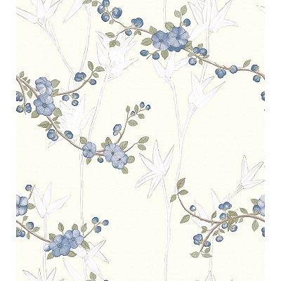 Papel de Parede Trigo e Flor De Macieira Branco, Azul, Marrom e Verde Bobinex Diplomata 3142 Vinílico Lavável