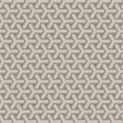 Papel de Parede Geometrico Boolmerang Bege e Cinza Bobinex Diplomata 3125 Vinílico Lavável
