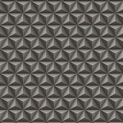 Papel de Parede Geométrico 3D Preto Bobinex Diplomata 3123 Vinílico Lavável