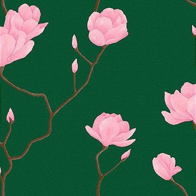 Papel de Parede Cerejeira Rosa Com Verde Escuro Bobinex Natural 1448 Vinílico Lavável
