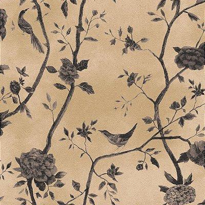 Papel de Parede Floral Bege Com Passaros Bobinex Natural 1443 Vinílico Lavável