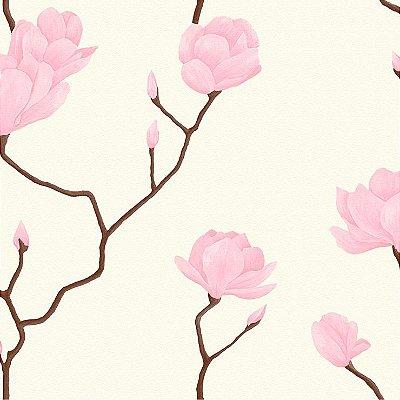 Papel de Parede Cerejeira Rosa Com Branco Bobinex Natural 1446 Vinílico Lavável