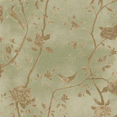 Papel de Parede Floral Verde Com Passaros Bobinex Natural 1444 Vinílico Lavável