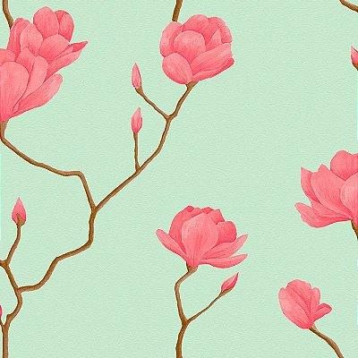 Papel de Parede Cerejeira Rosa Com Verde Bobinex Natural 1447 Vinílico Lavável