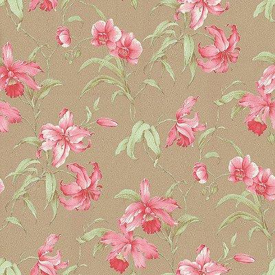 Papel de Parede Floral Marrom - Rosa e Verde Bobinex Harmonia 9116 Vinílico Lavável