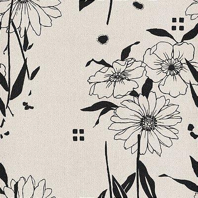 Papel de Parede Floral Preto Bobinex Harmonia 9122 Vinílico Lavável