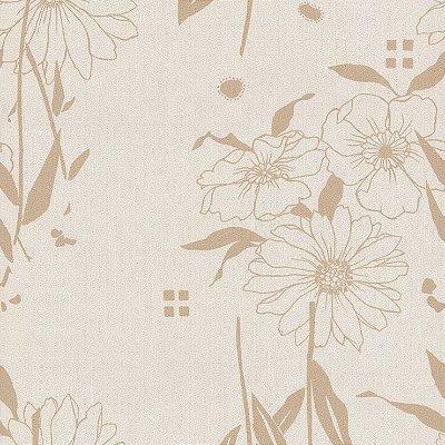 Papel de Parede Floral Bege Bobinex Harmonia 9120 Vinílico Lavável
