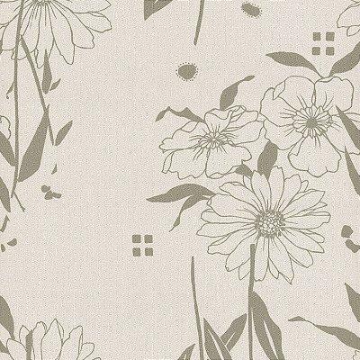 Papel de Parede Floral Cinza Bobinex Harmonia 9119 Vinílico Lavável