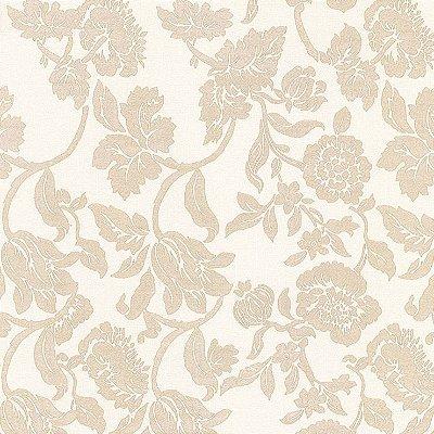 Papel de Parede Floral Areia Bobinex Harmonia 9125 Vinílico Lavável