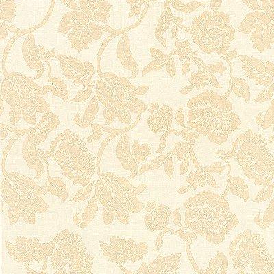 Papel de Parede Floral Bege Bobinex Harmonia 9126 Vinílico Lavável