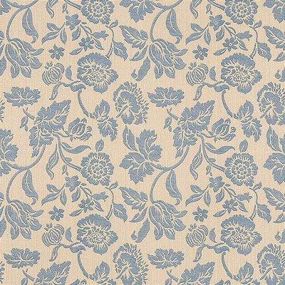 Papel de Parede Floral Bege e Azul Bobinex Harmonia 9134 Vinílico Lavável