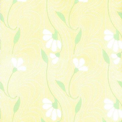 Papel de Parede Floral Amarelo e Branco Bobinex Classique 2860