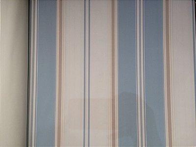 Papel de Parede Vinílico  - Listras (Azul Claro/ Tons de Bege/ Branco)  BCSS-889035