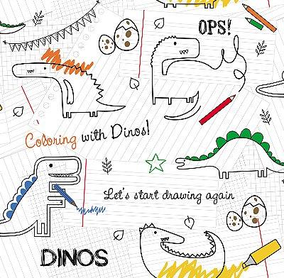 Papel de Parede Desenhos de Dinossauros Bobinex Renascer 6206 Vinílico